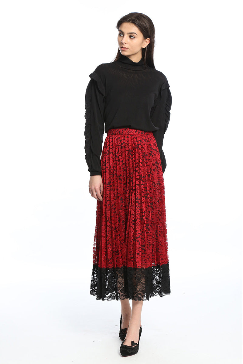 Womens Red Red Lace Sun Pleated Lace Midi Skirt
