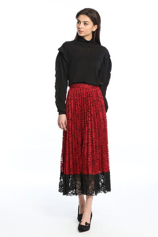 95e6057027 Womens Red Red Lace Sun Pleated Lace Midi Skirt ...