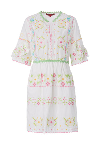 Womens White Floral Stripes Dress