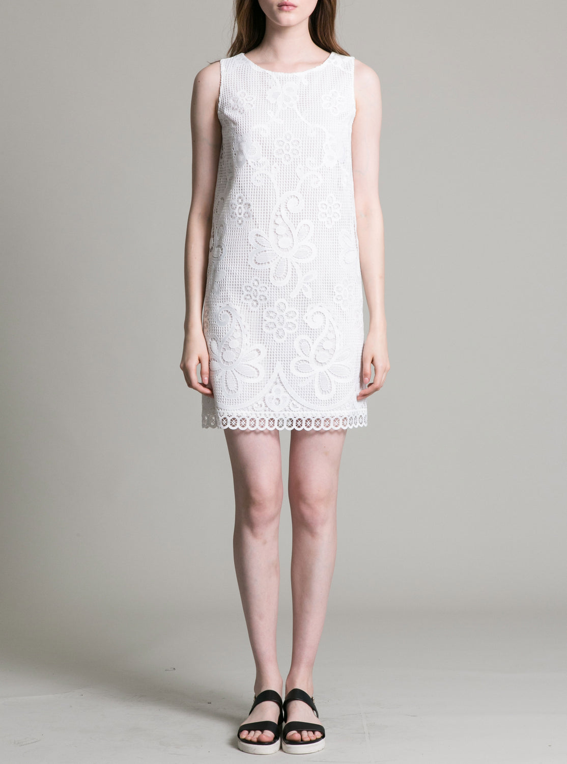 Womens White Paisley Lace Dress