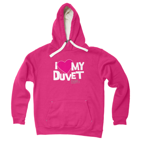 Plain Lazy Plain Lazy - I Love My Duvet Fuschia Pink Womens Hoodie - Size Small