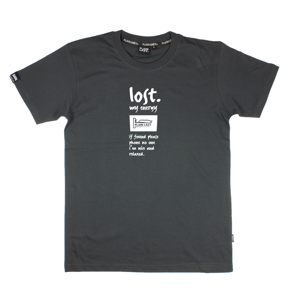 Plain Lazy Plain Lazy - Lost My Energy Charcoal Classic Mens T Shirt