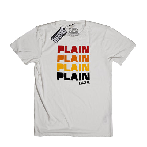 Plain Lazy Plain Lazy - Quad Stone Wash White Mens Classic T Shirt