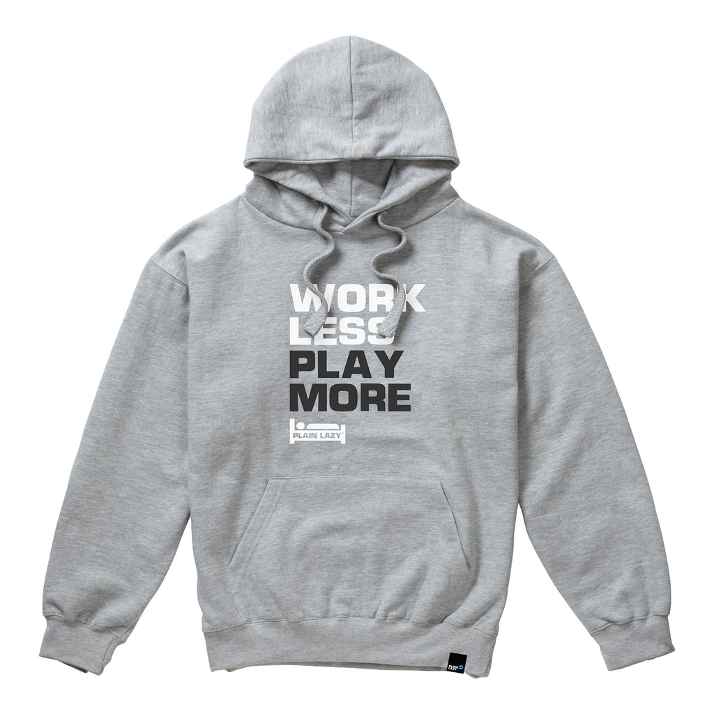 Plain Lazy Plain Lazy - Work Less Play More Grey Marl Mens Hoodie