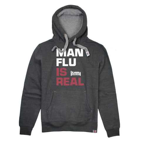 Plain Lazy Plain Lazy - Man Flu is Real Dark Heather Mens Hoodie