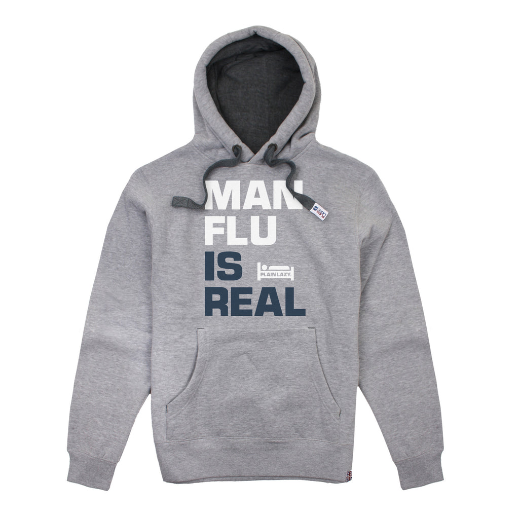 Plain Lazy Plain Lazy - Man Flu is Real Grey Heather Mens Hoodie