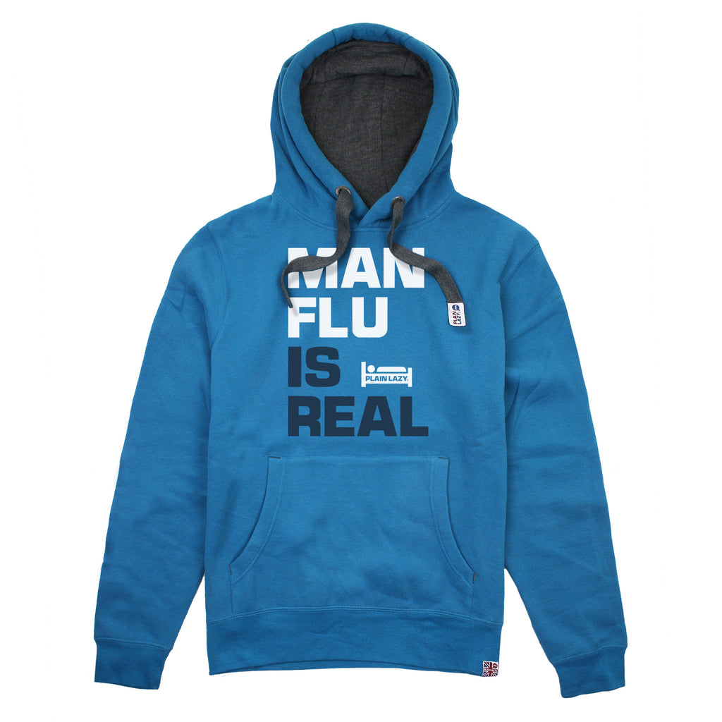 Plain Lazy Plain Lazy - Man Flu is Real Sapphire Mens Hoodie