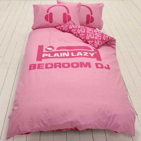 Plain Lazy Bedroom DJ Pink Single Duvet Cover Set