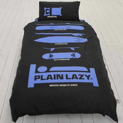 Plain Lazy - Board Sports Black Single Duvet Cover Set