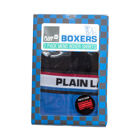 Plain Lazy Plain Lazy - Exercise is Highly Addictive / Plain Lazy 2 Pack Mens Boxer Shorts