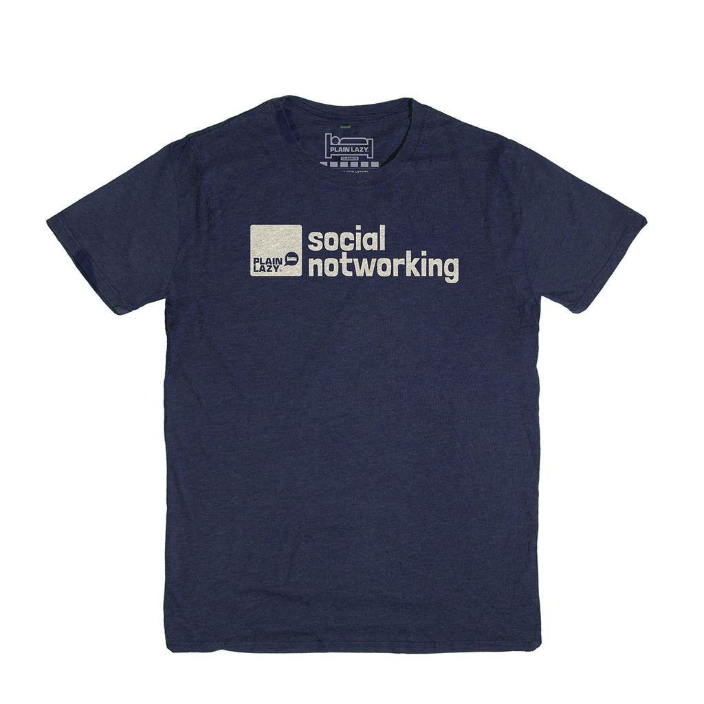 Plain Lazy Plain Lazy - Social Notworking Heather Indigo Classic Mens T Shirt