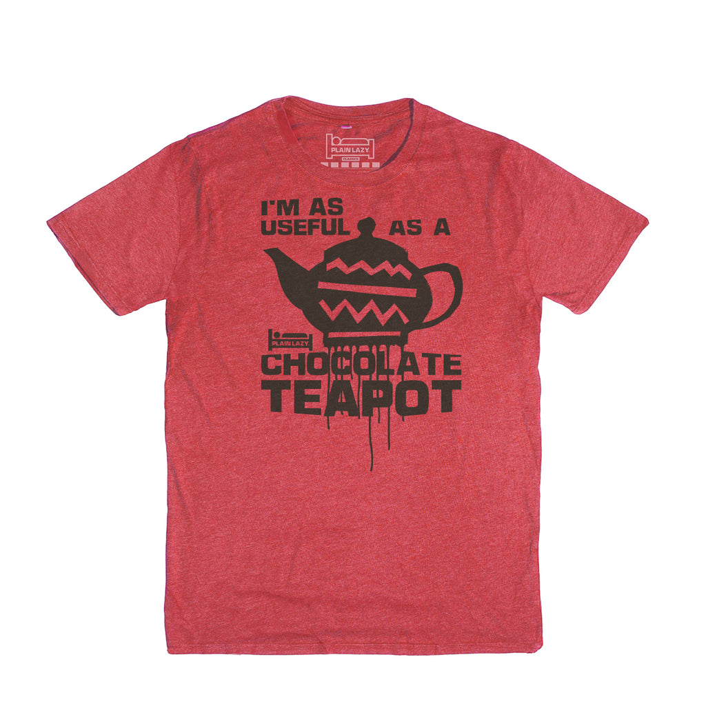 Plain Lazy Plain Lazy - Chocolate Teapot Heather Red Classic Mens T Shirt
