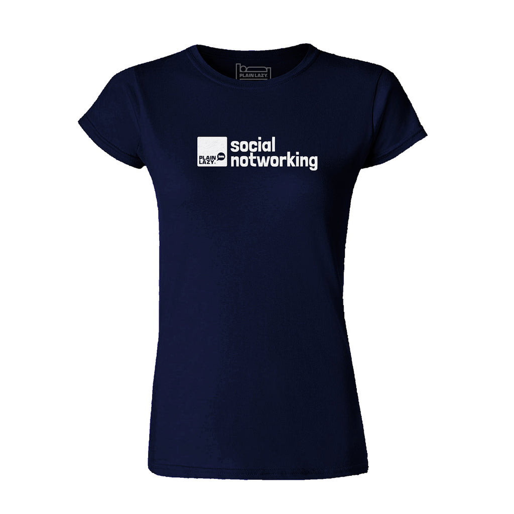 Plain Lazy Plain Lazy - Social Notworking Navy Classic Womens T Shirt