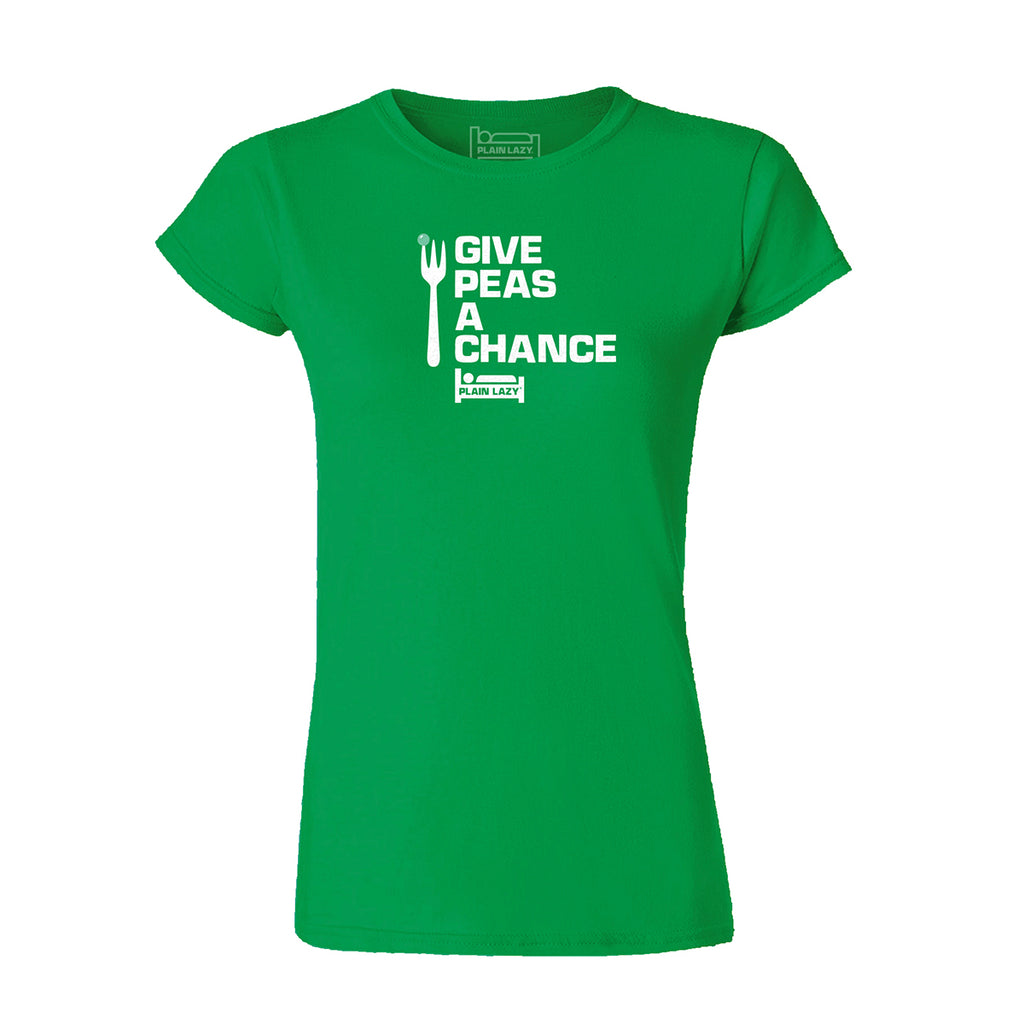 Plain Lazy Plain Lazy - Give Peas a Chance Irish Green Classic Womens T Shirt