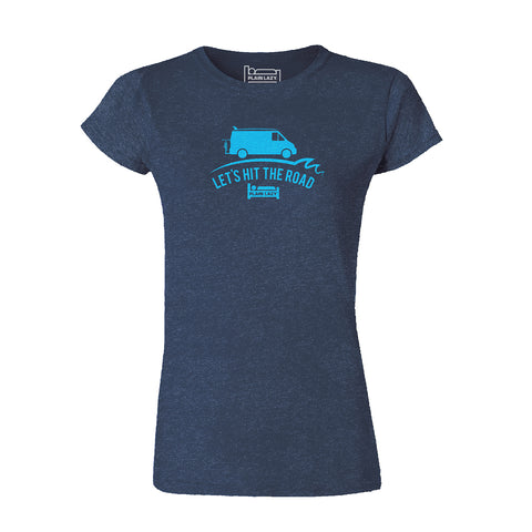 Plain Lazy - Let's Hit The Road Navy Classic Womens T Shirt