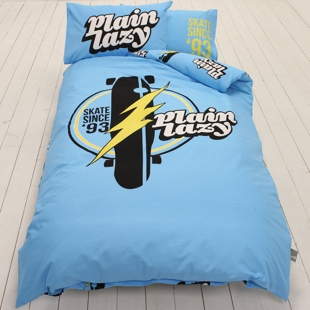 Plain Lazy Plain Lazy - Skate Retro Light Blue Single Duvet Cover Set