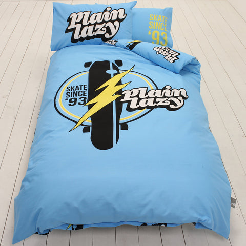 Plain Lazy Skate Retro Light Blue Single Duvet Cover Set