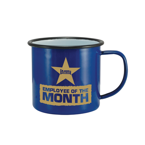 Plain Lazy Plain Lazy - Employee of the Month Blue Tin Mug