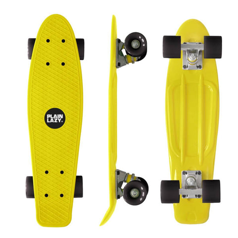 Plain Lazy Plain Lazy - Yellow Retro Cruiser Complete Skateboard