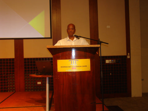 Wayne C. Robinson speaking at Montego Bay Conference Centre