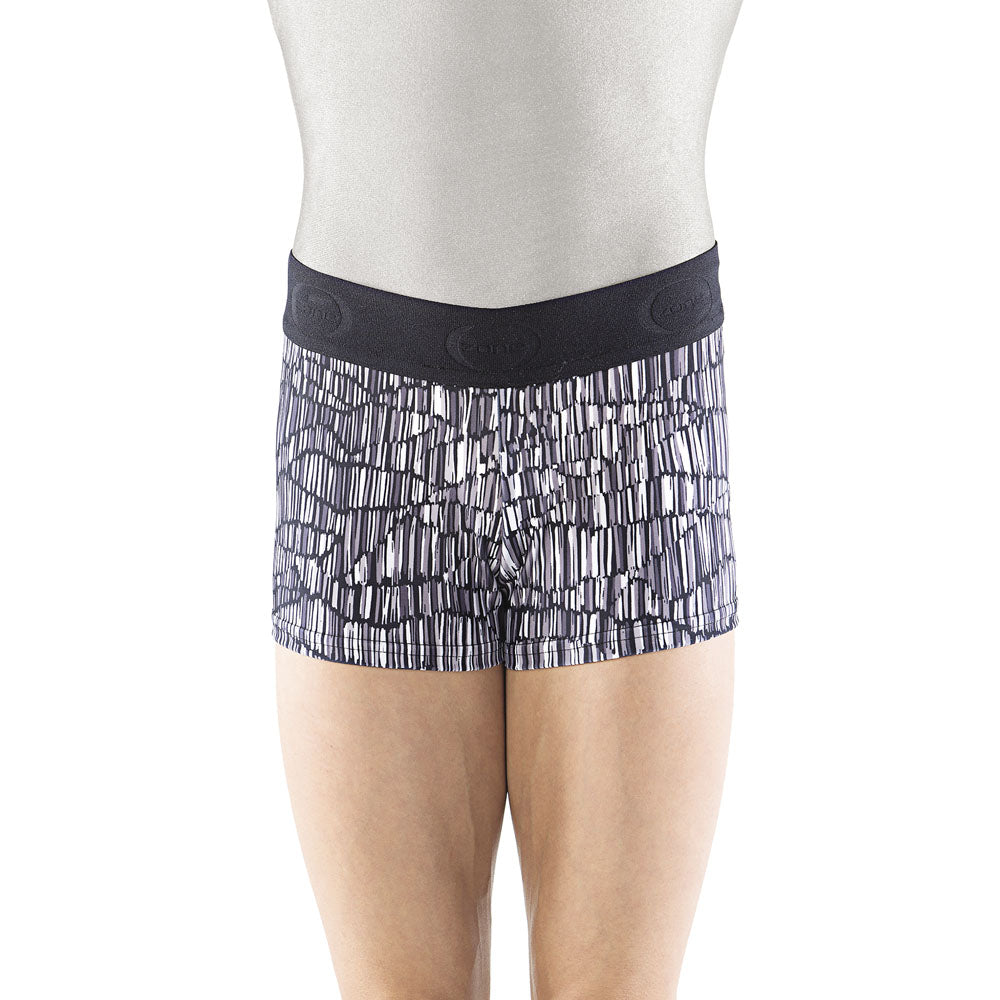 Black and Gray Wide Band Shorts