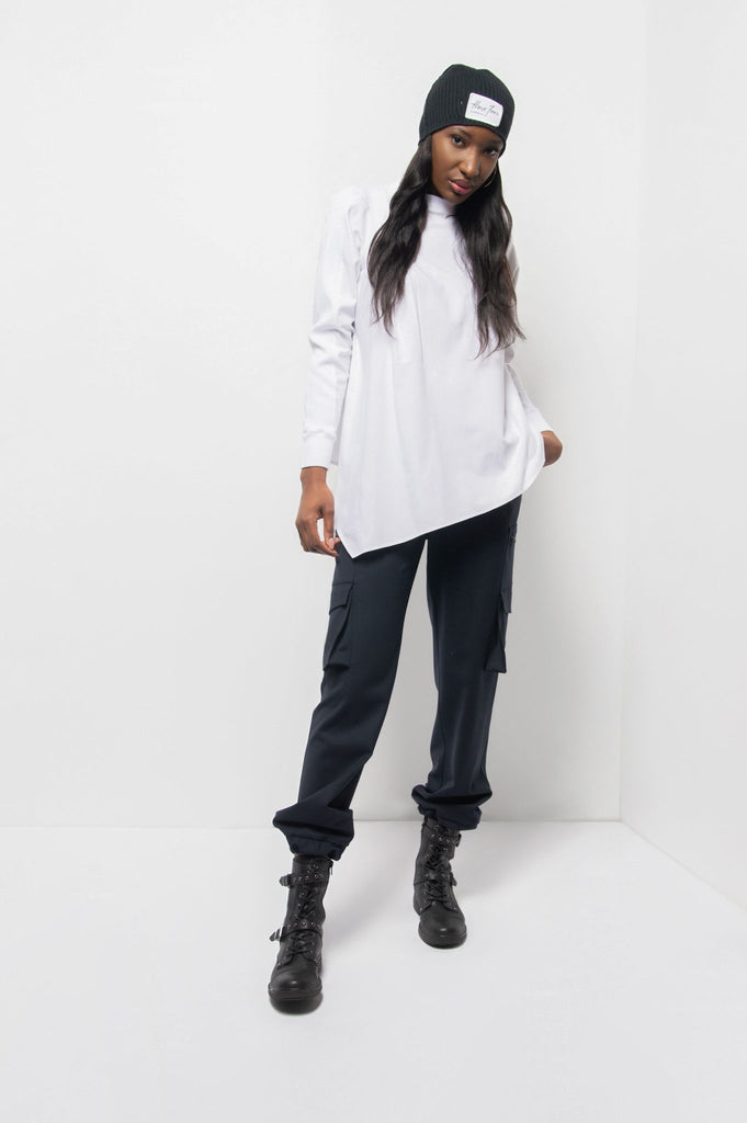 Tata White Asymmetrical Cotton Shirt