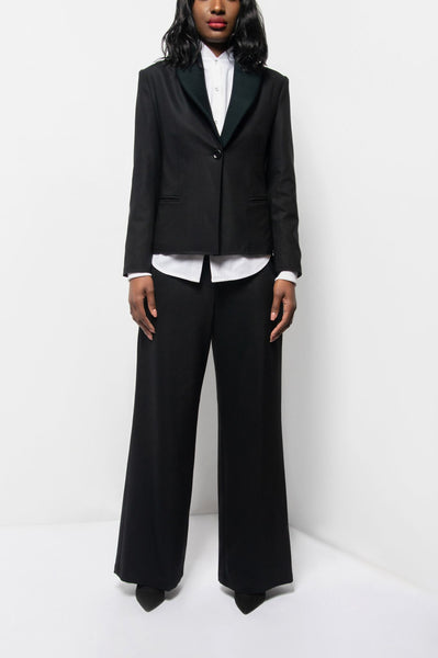 Black Wool Wide Leg Pant