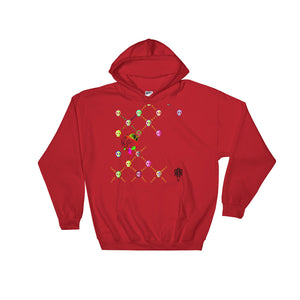 Red ride hoodie with skulls and bones