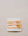 2-Pack Rectangular Hair Clips Yellow and Orange