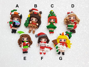 Clay Charm Embellishment NEW christmas girl sj - Crafty Mood