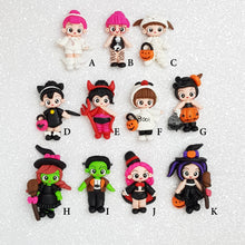 Load image into Gallery viewer, Sale Clay Charm Embellishment - Halloween Doll - Crafty Mood