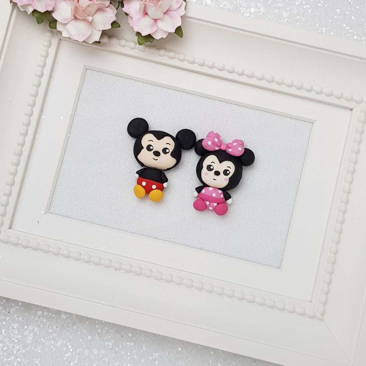 The Mouse Couple - Embellishment Clay Bow Centre - Big Eyes - Crafty Mood