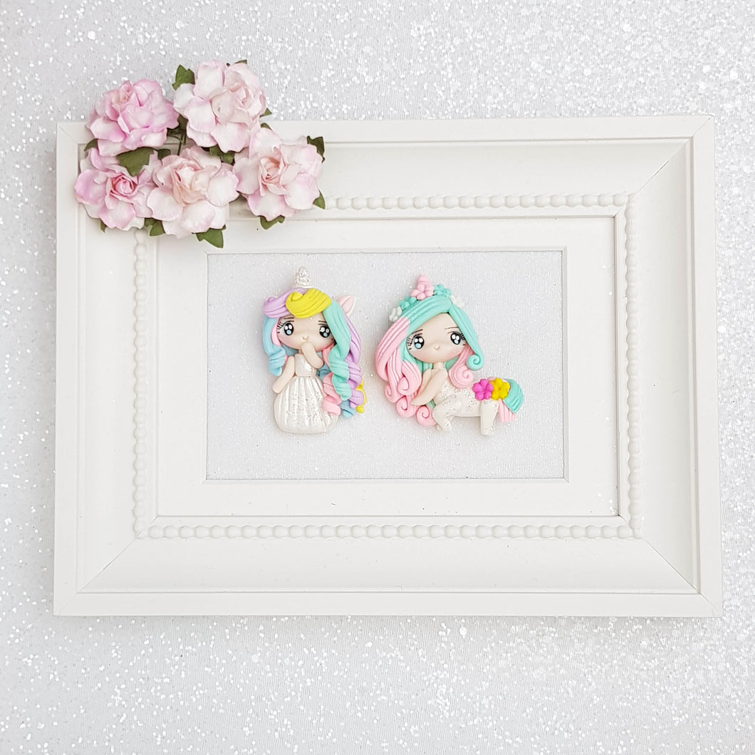 Clay Charm Embellishment - Unicorn Girl A - Crafty Mood