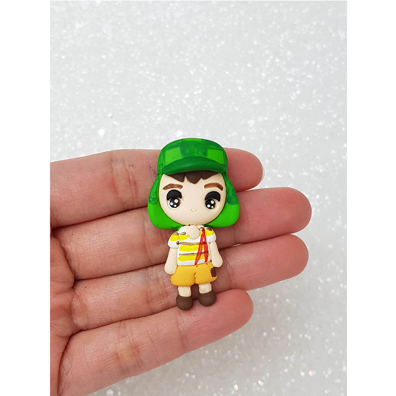 Clay Charm Embellishment - Green Hat Boy Big Eyes - Crafty Mood