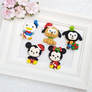 Mouse and Friends Big Eyes - Handmade Flatback Clay Bow Centre
