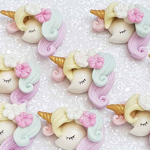Clay Charm Embellishment - NEW RAINBOW UNICORN HEAD - Crafty Mood