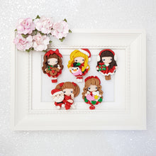 Load image into Gallery viewer, Christmas Girl - Handmade Flatback Clay Bow Centre - Crafty Mood