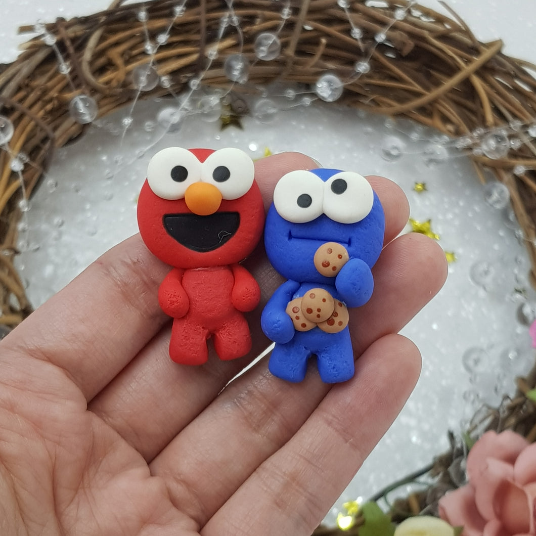 Cute red blue monster - Embellishment Clay Bow Centre