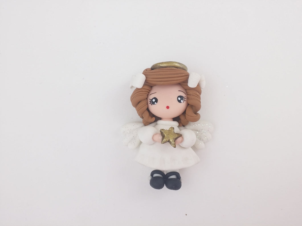 Clay Charm Embellishment Angelica star max 4cm - BROWN - Crafty Mood