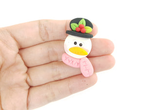 Clay Charm Embellishment - Christmas Snowman Head 4 cm - Crafty Mood