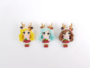 Handmade Flat Back Clay Embellishment REINDEER GIRL BIG EYES christmas - Crafty Mood