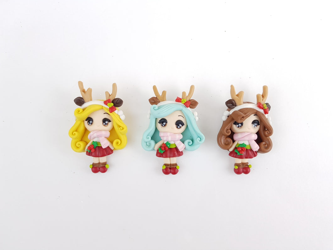 Clay Charm Embellishment - REINDEER GIRL BIG EYES Christmas - Crafty Mood