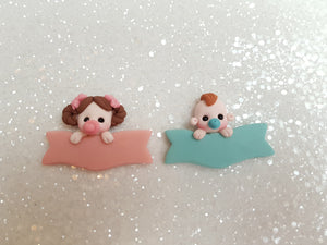 SALE Clay Charm Embellishment - BABY PERSONALISED PLAQUE - Crafty Mood