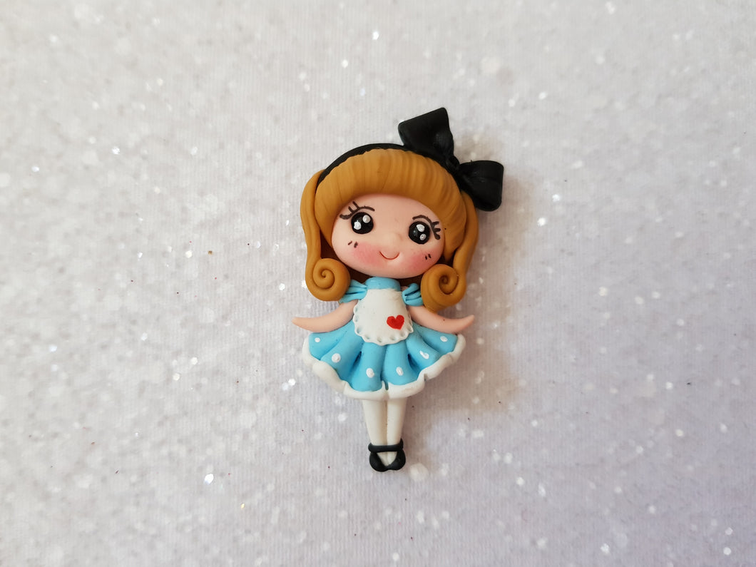 Handmade Flat Back Clay Embellishment Wonderland princess - Crafty Mood