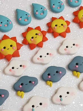 Handmade Flat Back Clay Embellishment NEW WEATHER - PRICE OF EACH OR SET this week deal - Crafty Mood