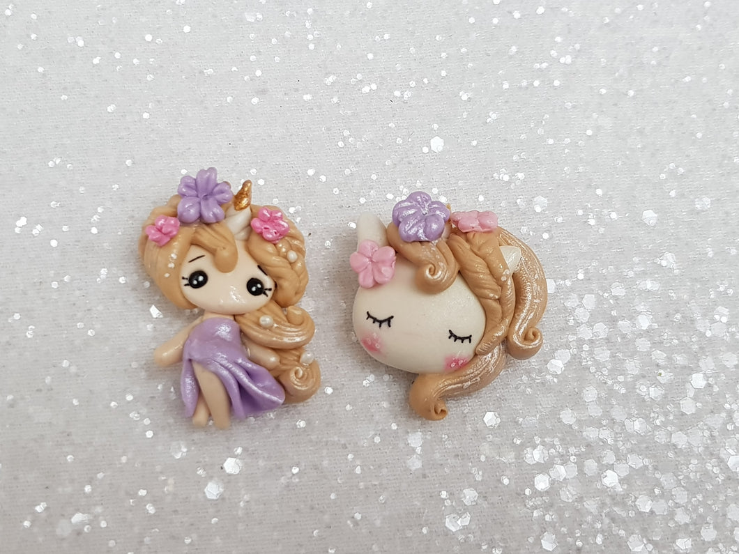 Clay Charm Embellishment - NEW A UNICORN GIRL/HEAD - Crafty Mood