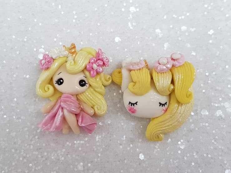 Clay Charm Embellishment - NEW D SHIMMER UNICORN GIRL/HEAD - Crafty Mood