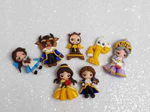 Clay Charm Embellishment - NEW PRINCESS AND FRIENDS SET OF 7 - Crafty Mood