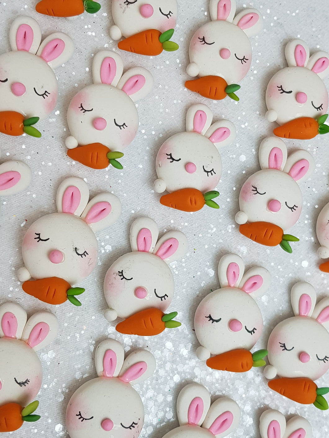 Clay Charm Embellishment - NEW BUNNY AND CARROT - Crafty Mood