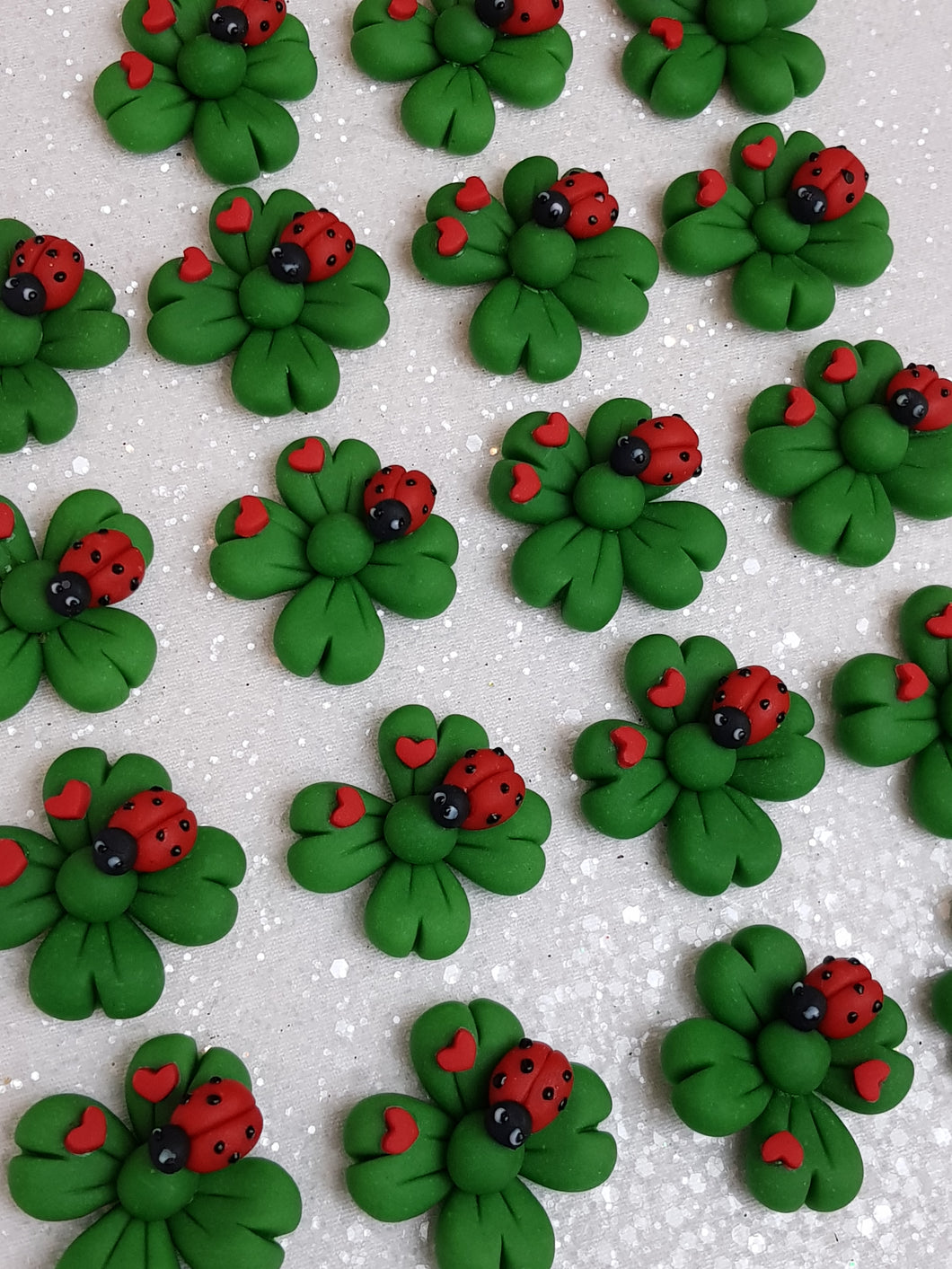 Clay Charm Embellishment - NEW SHAMROCK LADYBUG - Crafty Mood